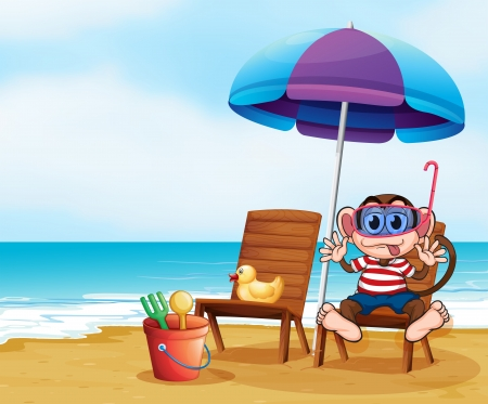 sun protection: Illustration of a monkey at the beach with toys