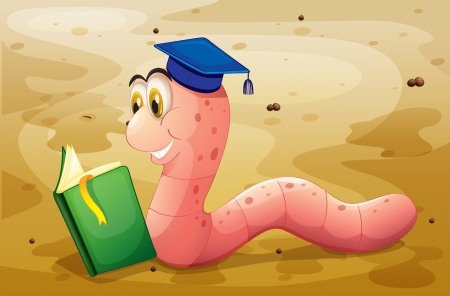 sideview: Illustration of an earthworm reading a book at the ground Illustration