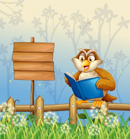 reads: Illustration of an owl reading a book beside a wooden signboard  Illustration