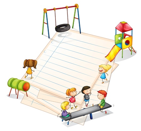 Illustration of a paper with a park with many kids on a white background Vector