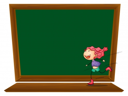 Illustration of a blackboard with a girl skating on a white background  Vector