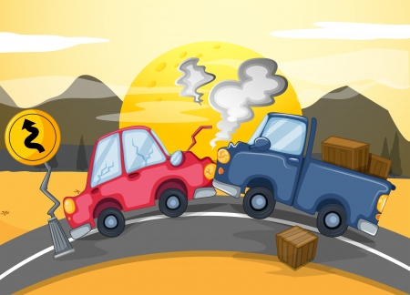 damaged car: Illustration of the two cars bumping in the middle of the road Illustration