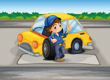 replacing: Illustration of a boy reparing the damaged car