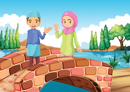 couples outdoors: Illustration of a Muslim couple waving at the bridge Illustration