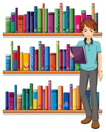 Illustration of a man in the library on a white background Stock Vector - 20518231
