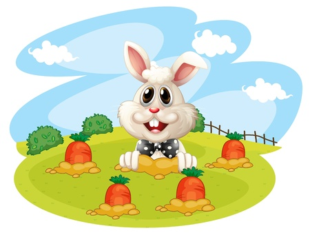 Illustration of a rabbit at the farm with carrots on a white background Vector