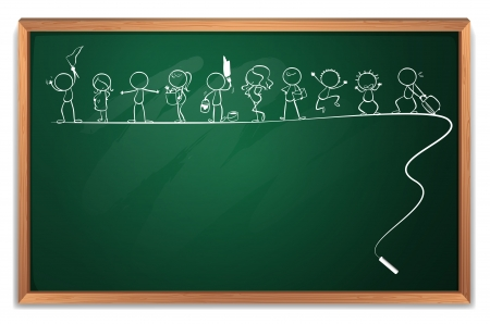 Illustration of a chalkboard with a drawing of kids playing different sports on a white background Stock Vector - 20517984