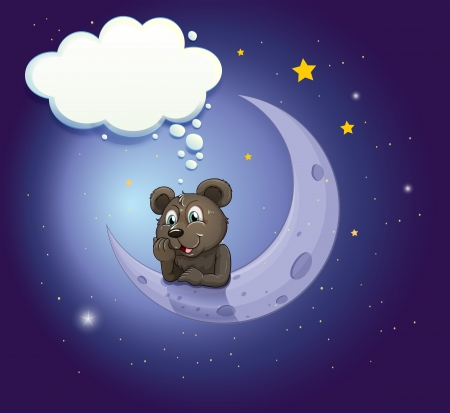 Illustration of a bear with an empty callout leaning over the moon