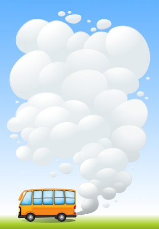 emitting: Illustration of an orange bus emitting smoke