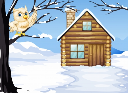 Illustration of an owl at the branch of a tree near the wooden house Vector