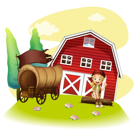 barnhouse: Illustration of a wagon and a girl in front of the barnhouse on a white background Illustration
