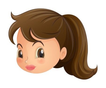 pouty: Illustration of a face of a young woman on a white background