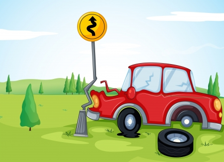 bumps: Illustartion of a car bumping the road sign