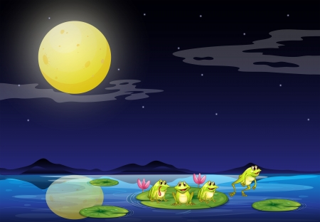 Illustration of the frogs at the waterlilies in the river Vector