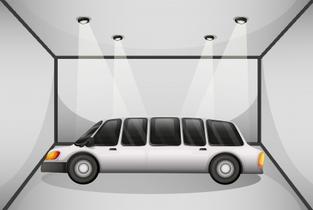 limo: Illustration of a limousine at the garage