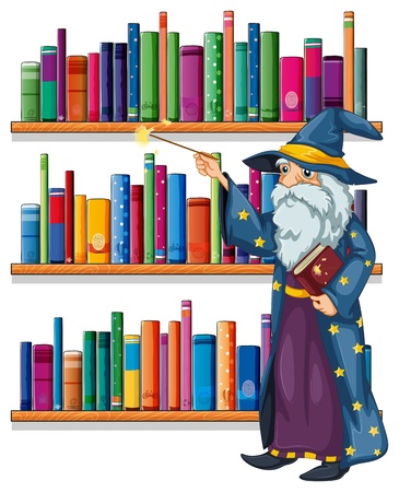 storyteller: Illustration of a wizard holding a wand in front of the shelves with books on a white background