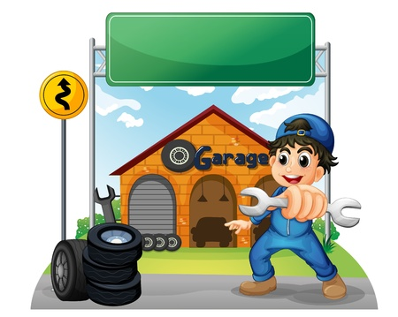 Illustration of a boy holding a tool near the empty signboard in front of the garage on a white background  Vector