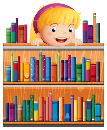 Illustration of a girl with a pink headband hiding at the back of the shelves Stock Vector - 20518101
