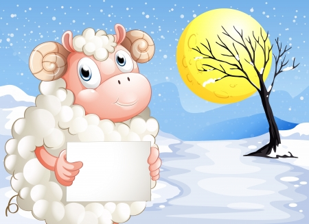 sheep sign: Illustration of a sheep in the snow with an empty signage Illustration