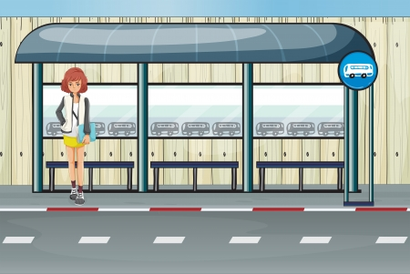 Illustration of a girl in the bus stop Vector