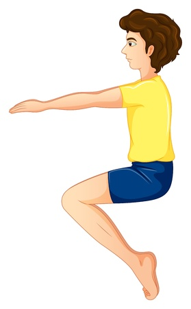 Illustration of a young man wearing a yellow shirt doing yoga on a white background Stock Vector - 20517647