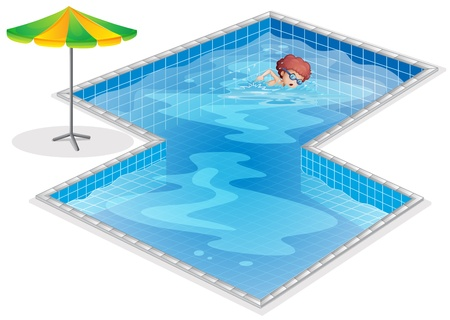 Illustration of a boy practicing at the swimming pool on a white background  Vector