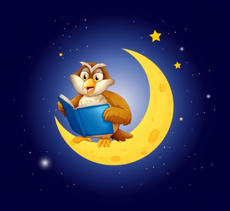 fantasy book: Illustration of an owl reading a book on the moon