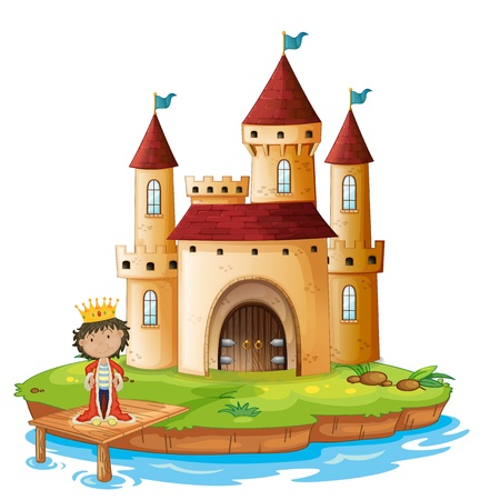 Illustration of a king outside his castle on a white background Vector