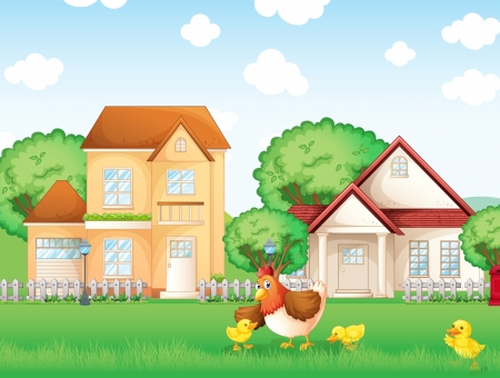 Illustration of the chicken and her little chicks Vector