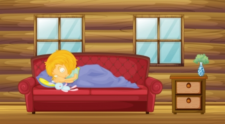Illustration of a girl sleeping at the sofa with a stuff toy  Vector