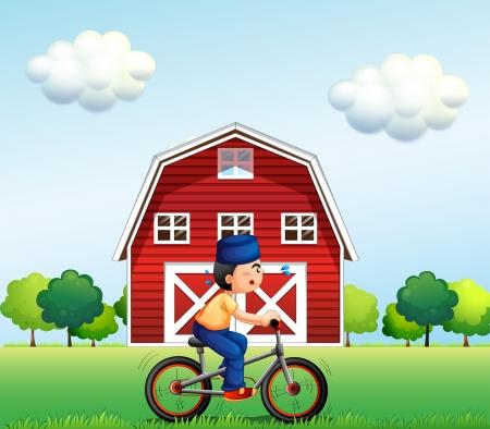 barnhouse: Illustration of a Muslim boy biking near the barnhouse