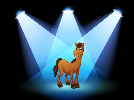 Illustration of a horse at the stage under the spotlights