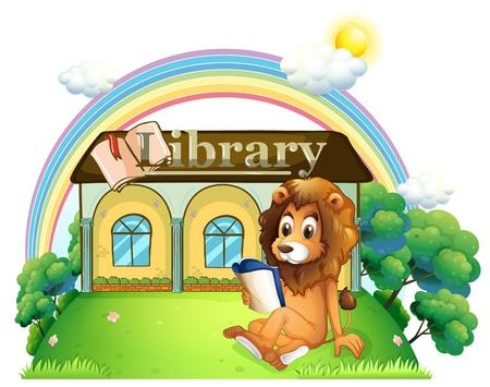Illustration of a lion outside a library on a white background Stock Vector - 20518019