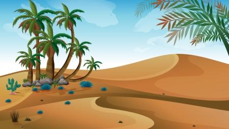 cactus desert: Illustratie van een woestijn met palmbomen Stock Illustratie