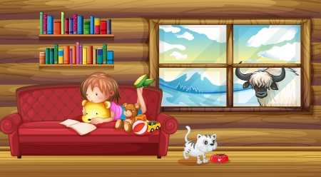 Illustration of a little girl reading a book Vector