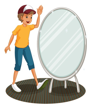 mirror image: Illustration of a boy beside a mirror on a white background Illustration