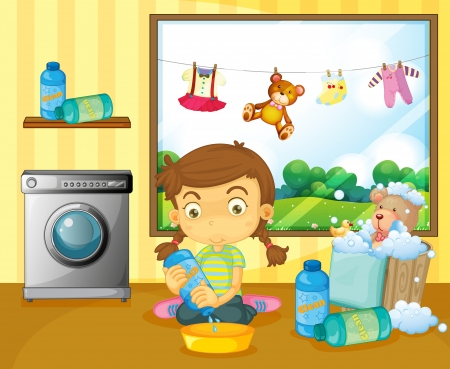 Illustration of a girl washing her stuffed toys