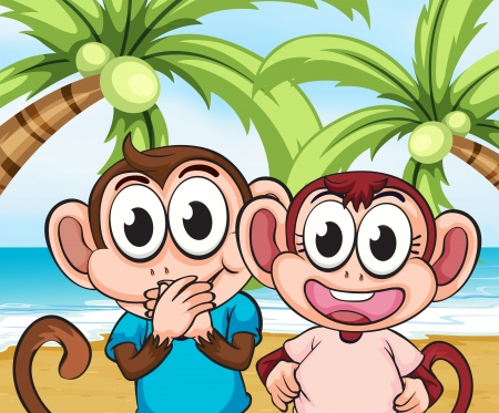 Illustration of the monkeys at the beach