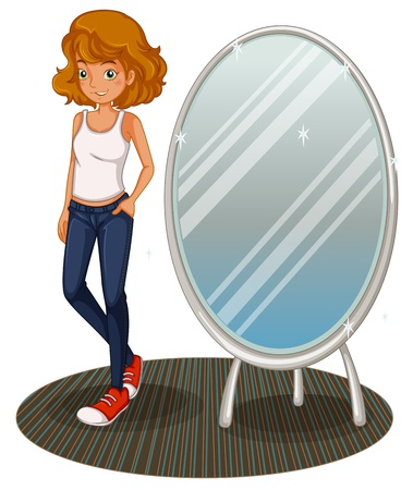 Illustration of a teenage girl beside the mirror on a white background Stock Vector - 20517679