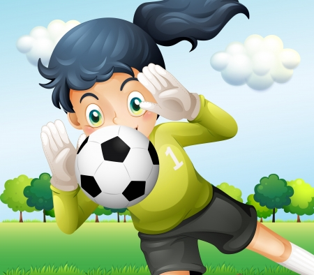 footwork: Illustration of a girl catching a soccer ball  Illustration
