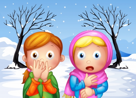 Illustration of the two scared little girls Stock Vector - 20517708