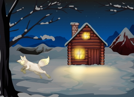 Illustration of a fox jumping outside the wooden house with snow Stock Vector - 20518327