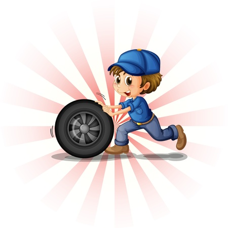 Illustration of a young boy rolling a tire on a white background Vector