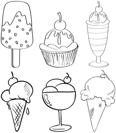 icecream: Illustration of the sketches of the different desserts on a white background