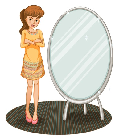 Illustration of a pretty girl beside a mirror Stock Vector - 20517721