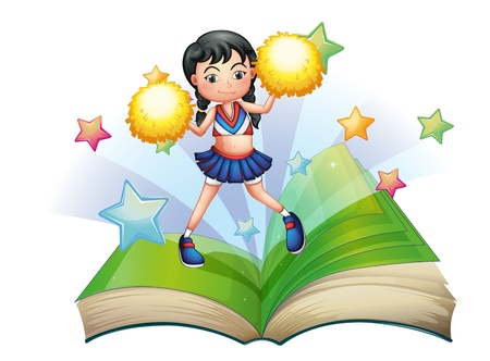 storybook: Illustration of a storybook with a cheerdancer dancing on a white background  Illustration