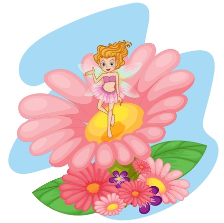 pixie: Illustration of a flower pixie above a big pink flower on a white background Illustration