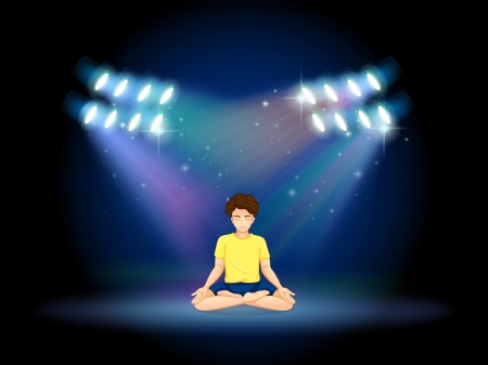 stageplay: Illustration of a stage with a man doing yoga