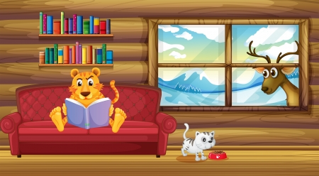 Illustration of a tiger reading a book inside the house Stock Vector - 20518251