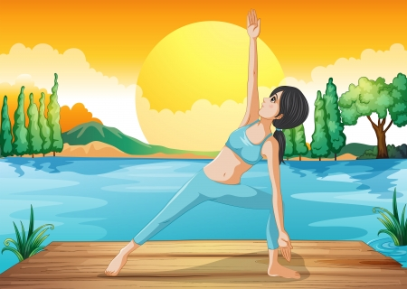 Illustration of a girl stretching near the river Stock Vector - 20518114